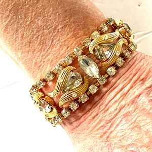 1960s Rhinestone Bracelet gold Weiss?